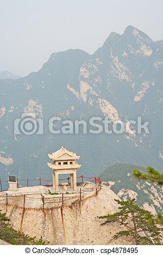 stone pagoda on the East Peak of the holy mountain Hua Shan, Xi'an, China - csp4878495