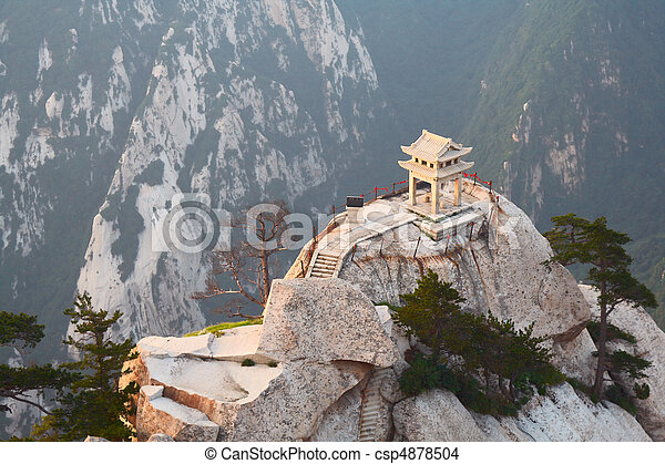 stone pagoda on the East Peak of the holy mountain Huashan, Xian, China - csp4878504