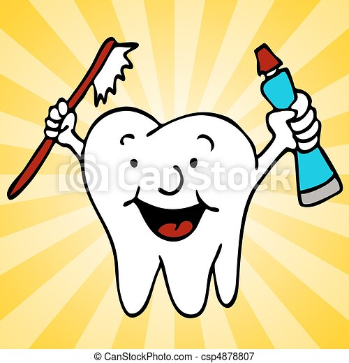 Healthy Clean Teeth Tooth Character - csp4878807