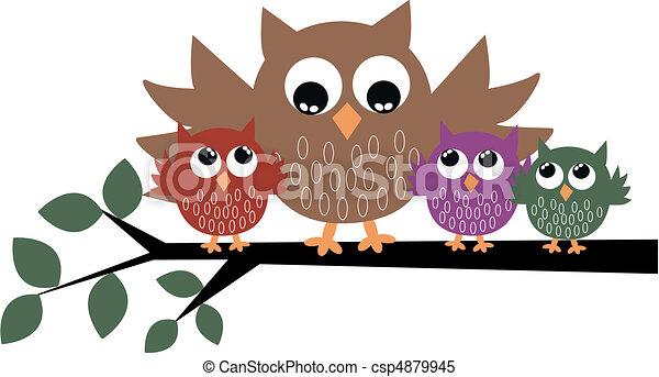 a cute owl family - csp4879945