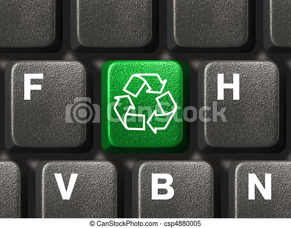 Computer keyboard with recycling symbol - csp4880005