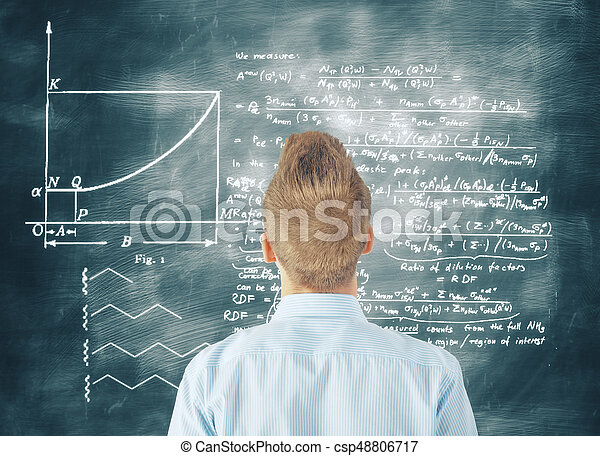 Back view of young businessman with questions looking at chalkboard with mathematical formulas. Knowledge concept