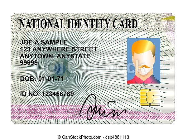 nacional, tarjeta de identidad, aislado - csp4881113
