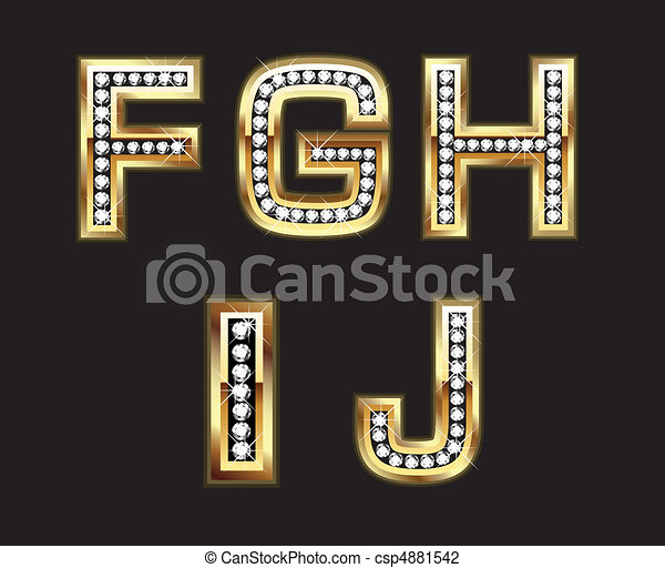 Set of gold and diamond letters - csp4881542