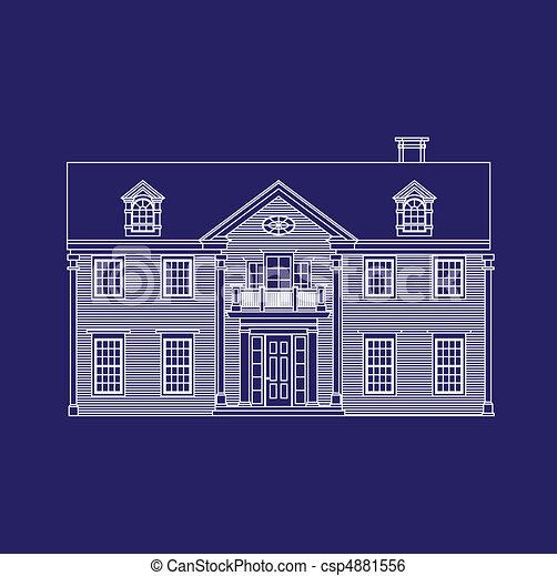 clip art vektor von haus blaupause csp4881556 suchen sie nach clipart illustration. Black Bedroom Furniture Sets. Home Design Ideas