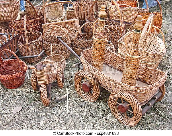 vime, products:, cestas, carros, garrafas - csp4881838