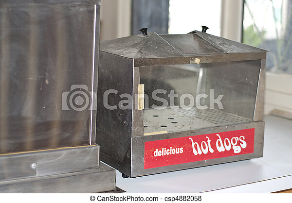 Hot Dog Warmer Vintage, and Empty in an Old Diner.