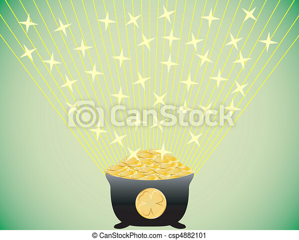 Shining Pot of Gold St. Patricks Day Background - csp4882101