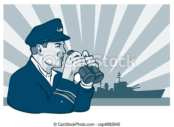 navy captain with binoculars - csp4882645
