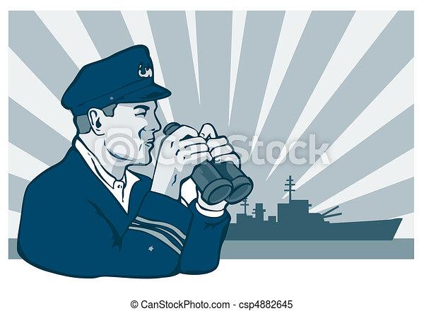 navy captain with binoculars - csp4882645
