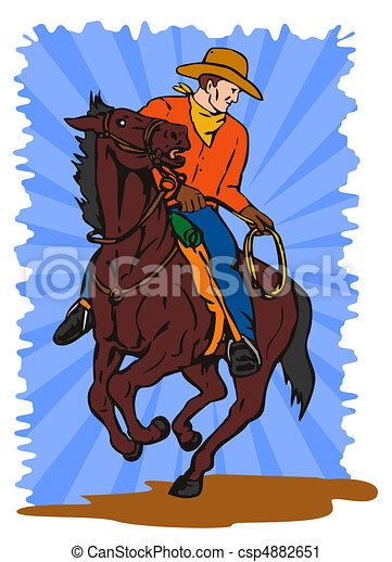 Lasso Clip Art Clipart of cowboy ridi...