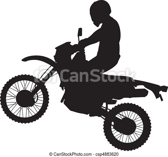 Jumping Dirtbike Silhouette - csp4883620