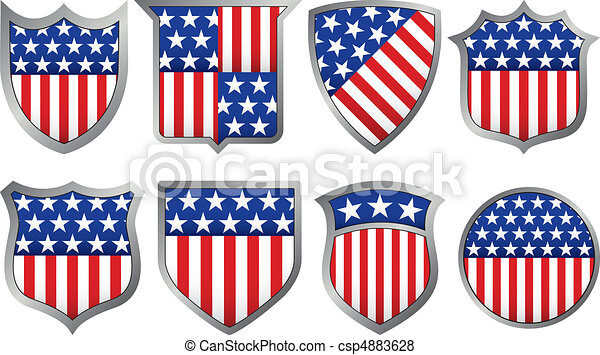 Eight Red White and Blue Shields - csp4883628