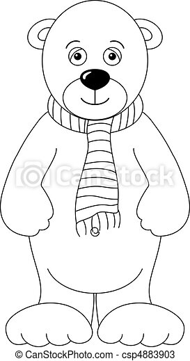 Teddy-bear white in a scarf, contours - csp4883903
