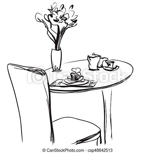 Tisch gezeichnet  Vektor Clip Art von skizze, coffee., hand, essen, vektor ...