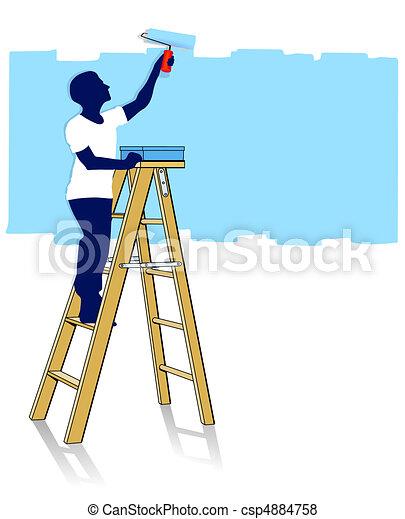 Stock de ilustraciones de pintor escalera csp4884758 for Escalera pintor