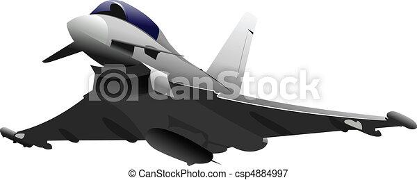 Combat aircraft. Colored vector il - csp4884997