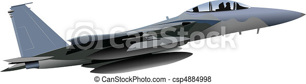 Combat aircraft. Colored vector il - csp4884998