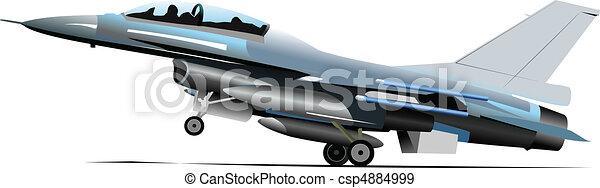 Combat aircraft. Colored vector il - csp4884999