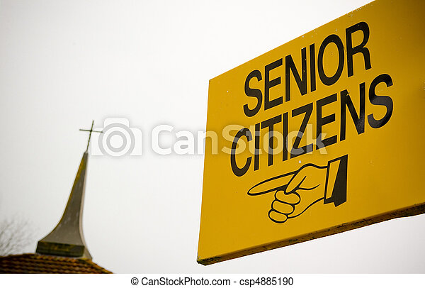 A sign directing senior citizens seems to be encouraging them to go to God. - csp4885190