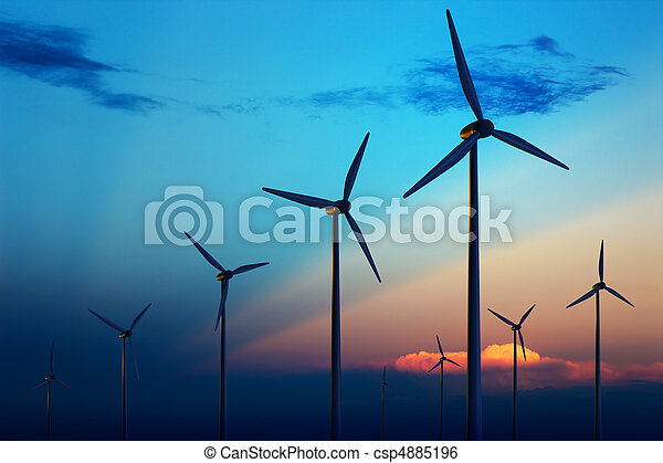 Wind turbine farm at sunset - csp4885196