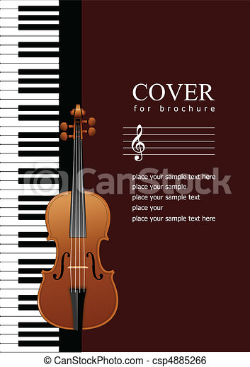 Cover for brochure with Piano with - csp4885266