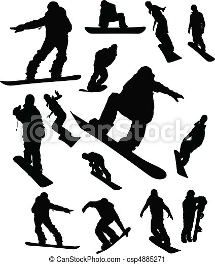 Snowboarder man silhouette set for - csp4885271