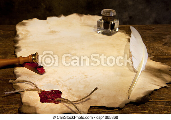 Blank parchment and wax seal - csp4885368