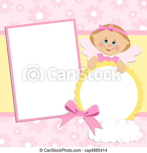 Template for baby's photo album - csp4885414