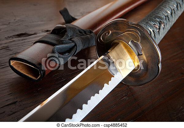 Japanese sword and sheath - csp4885452