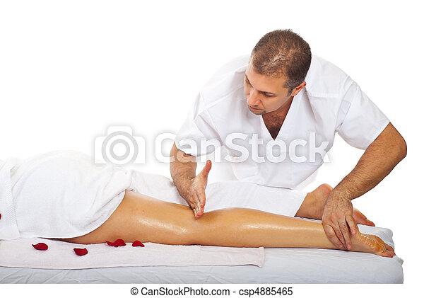 Friction massage to woman's leg - csp4885465