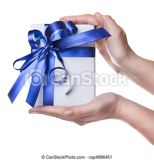 Hands holding gift in package with blue ribbon isolated on white - csp4886451