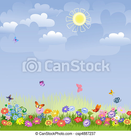 Lawn on a sunny day - csp4887237