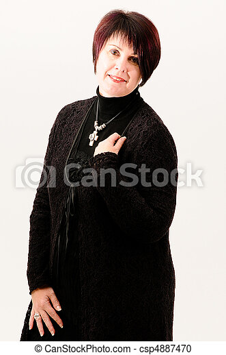 Stock Photo - Beautiful attractive fuller figure mature short haired woman ...
