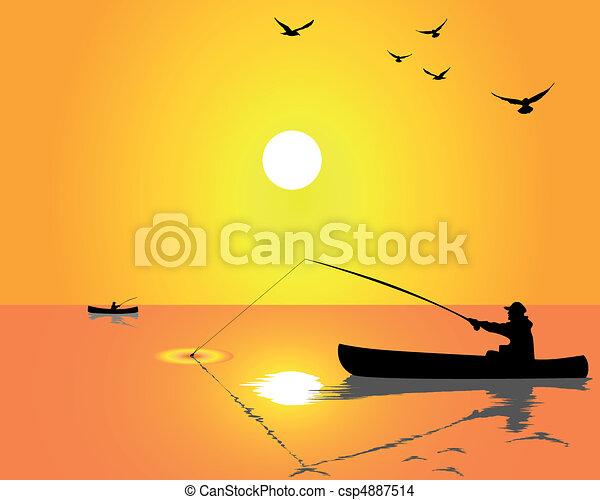 силуэт рыбака на рыбалке