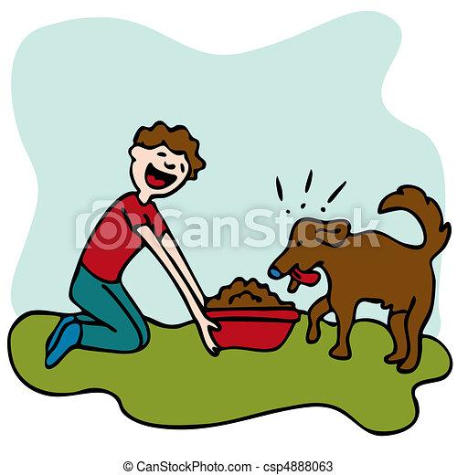 Man Feeding Dog Food - csp4888063