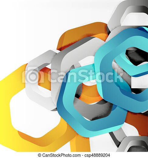 Overlapping hexagons design background - csp48889204