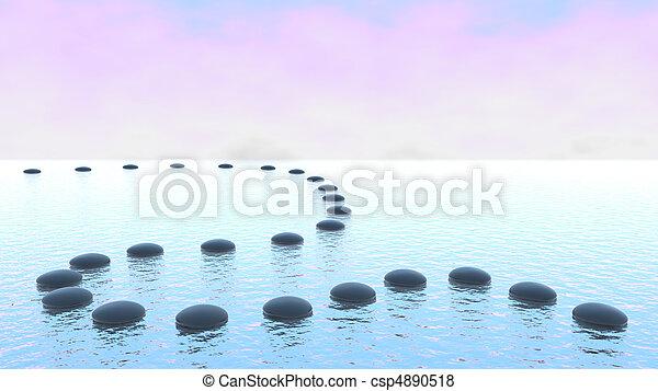Harmony. Pebble path on the water - csp4890518