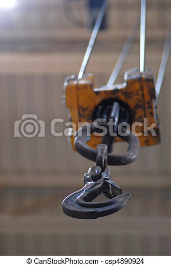 hook of overhead crane in manufacturing plant - csp4890924
