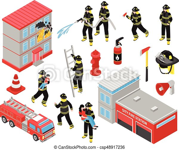 Fire Department Isometric Icons Set - csp48917236