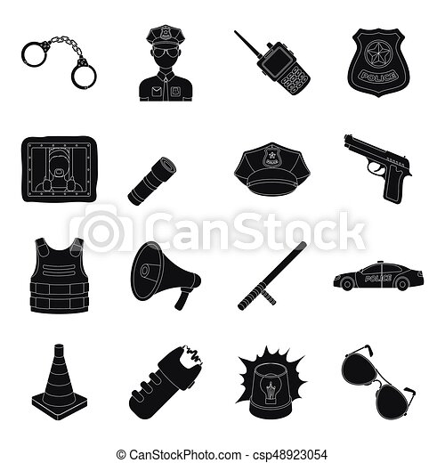 Police set icons in black style. Big collection of police vector symbol stock illustration - csp48923054