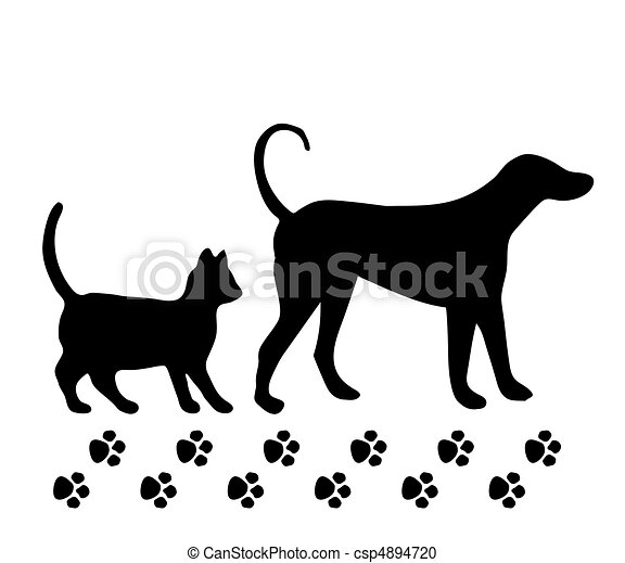 Dog and cat on white background. Vector - csp4894720