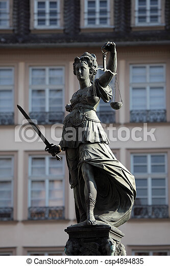 Lady Justice Statue in Frankfurt Main, Germany - csp4894835