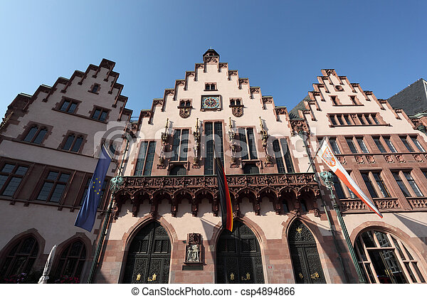 Historical Romer Square in the city of Frankfurt Main, Germany - csp4894866