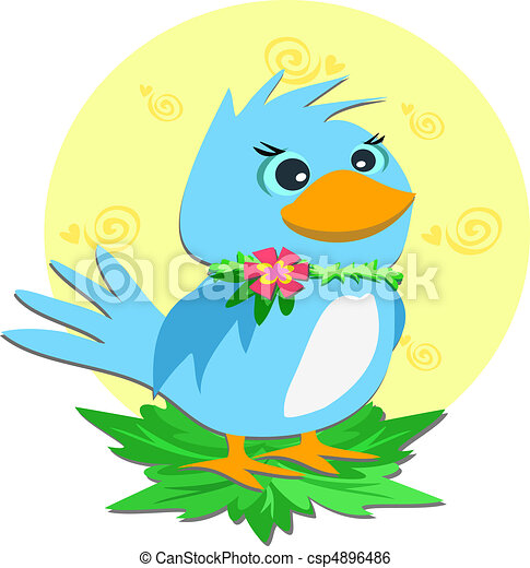 Blue Bird with a Flower Collar - csp4896486
