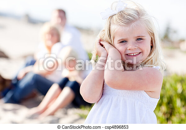 Adorable Little Blonde Girl Having Fun At the Beach - csp4896853