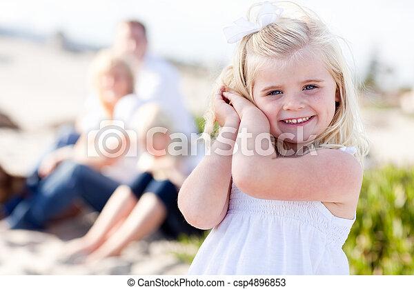 Adorable Little Blonde Girl Having Fun At the Beach - csp4896853