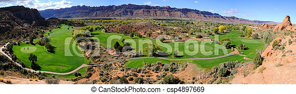 Moab Desert Golf Course Panorama - csp4897669