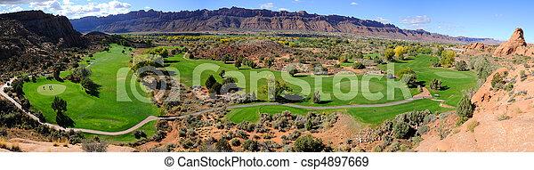 Moab Desert Golf Course Panorama - csp4897669