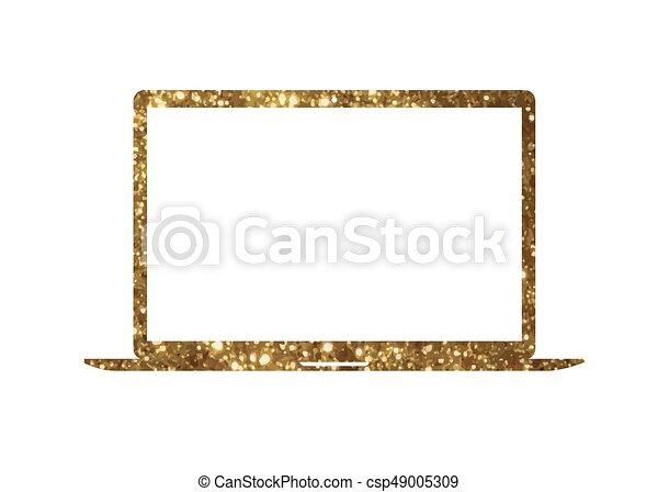gouden,  Vector, goud, plat, kleur, draagbare computer,  Computer, schitteren, pictogram - csp49005309